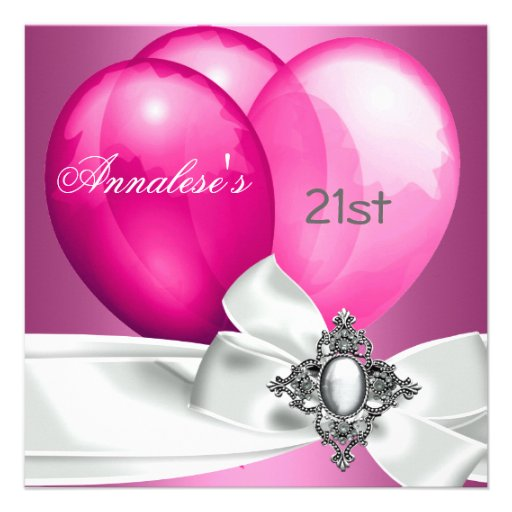21st Birthday Party Pink White Silver Bow Balloons Invitation