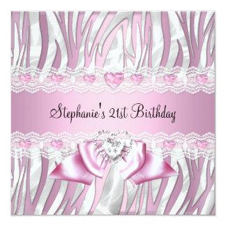 21st Birthday Party Pink White Zebra Diamond Card