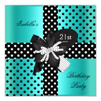 21st Birthday Party Polka Dot Teal Black White Card