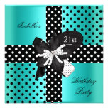 21st Birthday Party Polka Dot Teal Black White Personalised Invitations