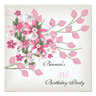 21st Birthday Party Pretty Pink Floral 13 Cm X 13 Cm Square Invitation Card
