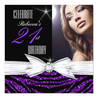 21st Birthday Party Purple 21 Zebra Photo 3 13 Cm X 13 Cm Square Invitation Card