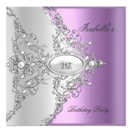21st Birthday Party Purple Lilac Silver White Custom Announcement