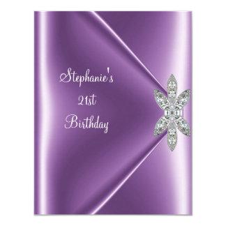 21st Birthday Party Purple Mauve Diamond Jewel Card