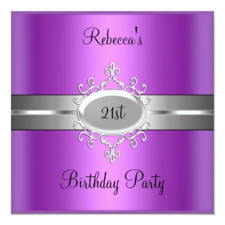 21st Birthday Party Purple Pink Silver Card