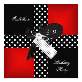 21st Birthday Party Red Polka Dot Black White Card