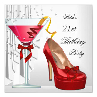 21st Birthday Party Red White Cocktail Shoe 13 Cm X 13 Cm Square Invitation Card