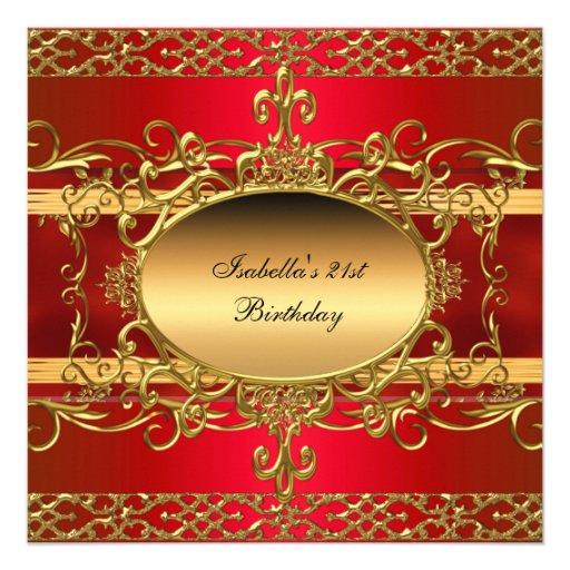 21st Birthday Party Rich Red Gold Flourish Custom Announcement