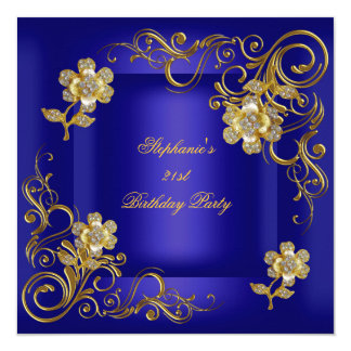 21st Birthday Party Royal Blue Gold Diamond 13 Cm X 13 Cm Square Invitation Card
