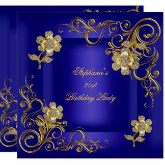 21st Birthday Party Royal Blue Gold Diamond Card