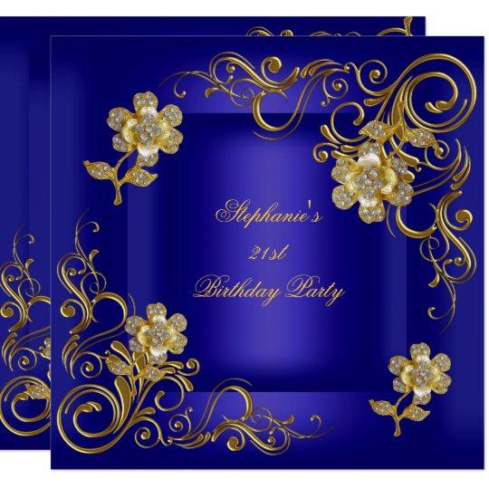 21st Birthday Party Royal Blue Gold Diamond Card Zazzle Com Au