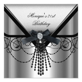21st Birthday Party Silver Black Diamond Bow 13 Cm X 13 Cm Square Invitation Card