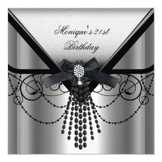 21st Birthday Party Silver Black Diamond Bow 13 Cm X 13 Cm Square Invitation Card