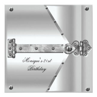 "21st Birthday Party Silver Metal Locks Hinges 5.25"" Square Invitation Card"
