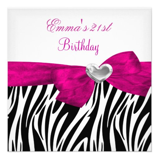 21st Birthday Party Silver Pink Black Leopard 5 Custom Announcement