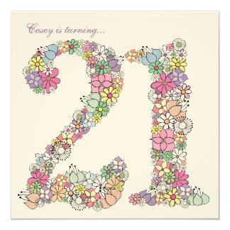 21st Birthday Party Spring Bloom Custom Invitation