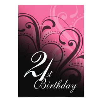 21st Birthday Party Swirl 13 Cm X 18 Cm Invitation Card