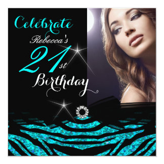 21st Birthday Party Teal Blue 21 Zebra Photo 4 13 Cm X 13 Cm Square Invitation Card