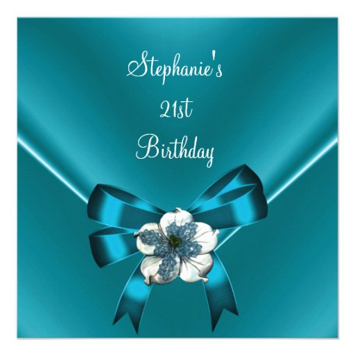 21st Birthday Party Teal Blue Silk White Jewel Bow Personalized Announcement