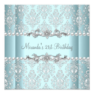 21st Birthday Party Teal Blue White Pearl Silver 13 Cm X 13 Cm Square Invitation Card