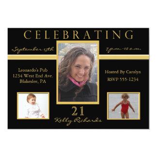 "21st Birthday Party Tri Photo Invitations 5"" X 7"" Invitation Card"