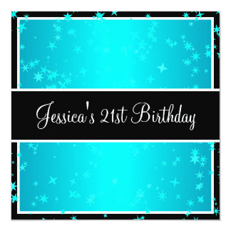 21st Birthday Party Turquoise Stars Black & White 13 Cm X 13 Cm Square Invitation Card
