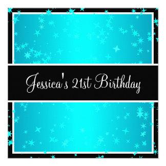 21st Birthday Party Turquoise Stars Black White Custom Announcement