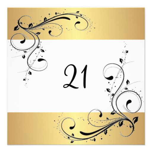 21st Birthday Party White Gold Black Floral Personalized Invites