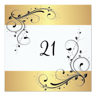 "21st Birthday Party White Gold Black Floral 5.25"" Square Invitation Card"