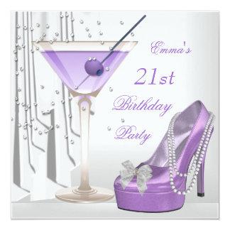 21st Birthday Party White Lilac Martini Pearl Shoe 13 Cm X 13 Cm Square Invitation Card