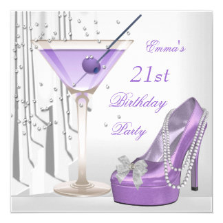 21st Birthday Party White Lilac Martini Pearl Shoe 13 Cm X 13 Cm Square Invitation Card