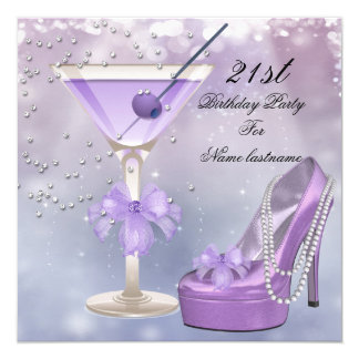 21st Birthday Party White Lilac Martini Purple 13 Cm X 13 Cm Square Invitation Card