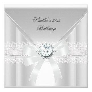 21st Birthday Party White Pearl Jewel 13 Cm X 13 Cm Square Invitation Card