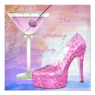 21st Birthday Party White Pink Blue Martini Shoe 13 Cm X 13 Cm Square Invitation Card