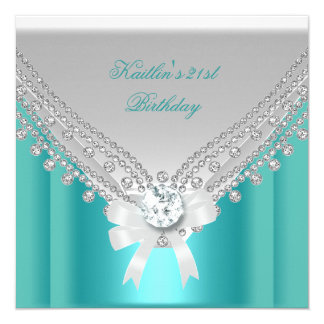 21st Birthday Party White Teal Blue Diamond 13 Cm X 13 Cm Square Invitation Card