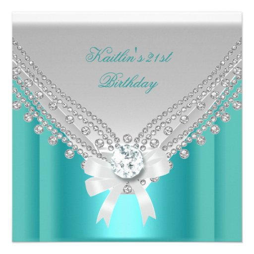 21st Birthday Party White Teal Blue Diamond Personalized Invitation