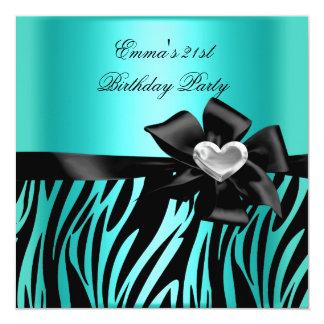 21st Birthday Party Zebra Silver Teal Blue Black 13 Cm X 13 Cm Square Invitation Card