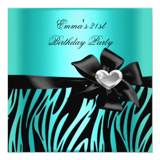 21st Birthday Party Zebra Silver Teal Blue Black Card
