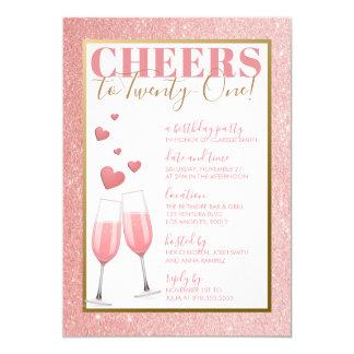 21st BIRTHDAY | PINK CHAMPAGNE Card