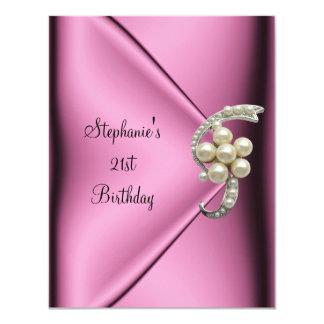 21st Birthday Pink Silk Pearl Jewel Lady Girl Card