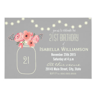 21st Birthday Pink Watercolor Flowers & Mason Jar 9 Cm X 13 Cm Invitation Card