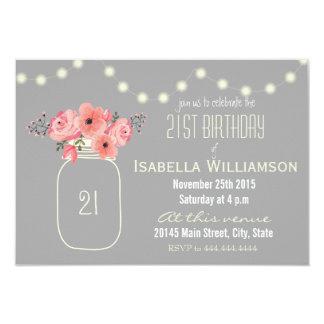 21st Birthday Pink Watercolor Flowers & Mason Jar 9 Cm X 13 Cm Invitation Card