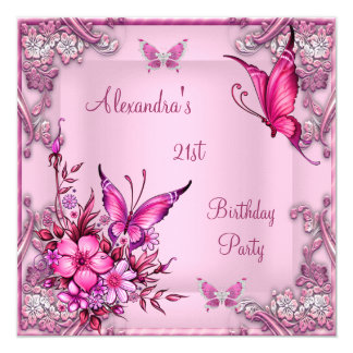 21st Birthday Pretty Pink Floral Butterfly Silver 13 Cm X 13 Cm Square Invitation Card