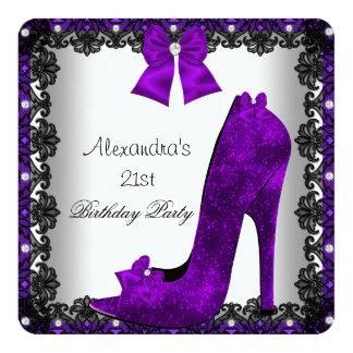 21st Birthday Purple High Heel Shoe Black Lace 13 Cm X 13 Cm Square Invitation Card
