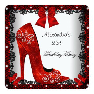 21st Birthday Red High Heel Shoe Black Lace 13 Cm X 13 Cm Square Invitation Card