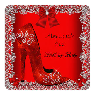 21st Birthday Red High Heel Shoe Silver Lace 2 5.25x5.25 Square Paper Invitation Card