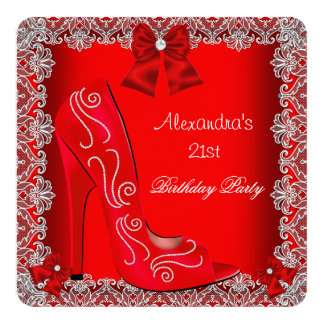 21st Birthday Red High Heel Shoe Silver Lace 3 5.25x5.25 Square Paper Invitation Card