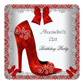 21st Birthday Red High Heel Shoe Silver Lace 5.25x5.25 Square Paper Invitation Card