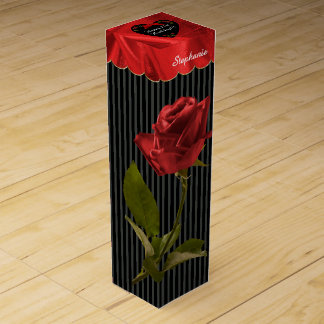 """21st Birthday"" Red Roses Floral Photography Black Wine Box"