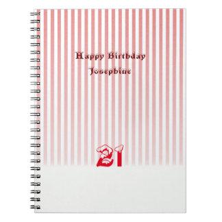 21st Birthday Red Stripes Notebooks